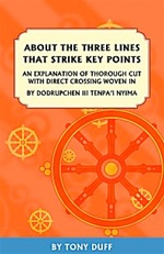 About The Three Lines That Strike Key Points: An Explanation of Thorough Cut With Direct Crossing Woven In by Dodrupchen III, Tenpa'i Nyima  By: Tony Duff
